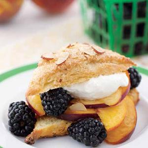 Almond Shortcakes with Peaches and Blackberries