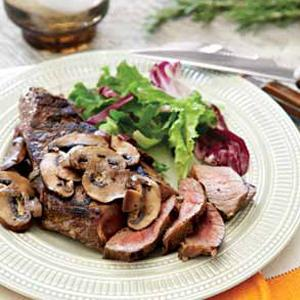 Sirloin Tip Steaks with Rosemary Mushrooms