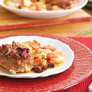 Roast Chicken Thighs with Carrots, Parsnips, and Cranberries