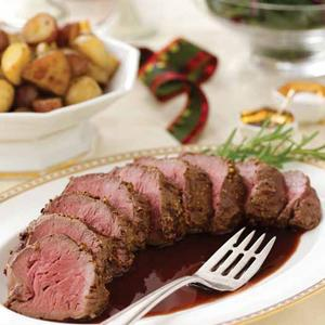 Dijon-Pepper Beef Tenderloin with Red Wine Shallot Sauce