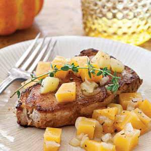 Pork Chops with Cider-Poached Rutabaga