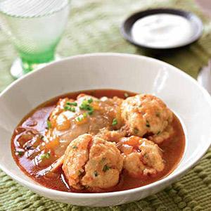 Chicken Paprikash Soup with Sour Cream and Chive Dumplings