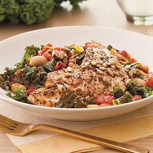 Turkey, Kale, and White Bean Saute