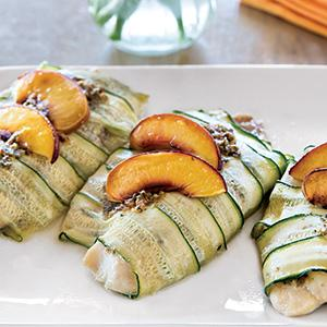 Zucchini-Wrapped Tilapia with Nectarines and Mint