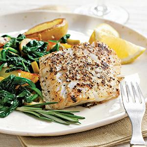 Pan-Seared Haddock with Potato-Spinach Sautee