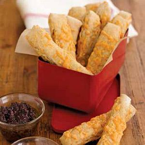 Cheddar Breadsticks with Two Dipping Sauces
