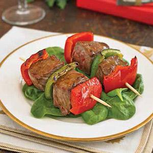 Yuletide Mini Beef Kebabs with Sweet-Spicy Glaze