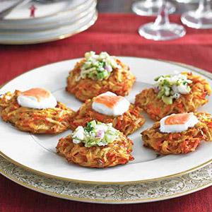 Carrot-Potato Latkes with Two Toppings