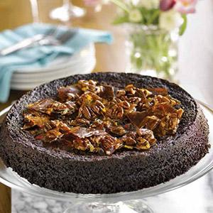 Toasted Pecan Crunch Chocolate Cake