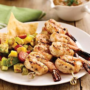 Grilled Shrimp with Salsa Fresca and Avocado Salad