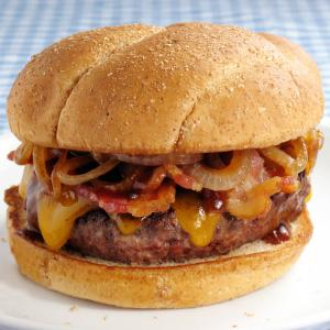 Bacon Cheddar Burger with Pan Fried Onions