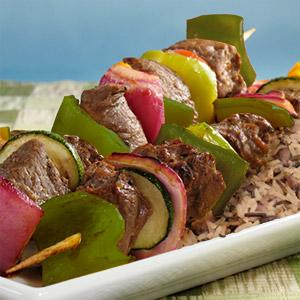 Dijon Wine Steak Kabobs with Mushroom Wild Rice