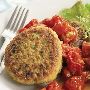 Curried Chickpea Patties with Tomato Orange Sauce