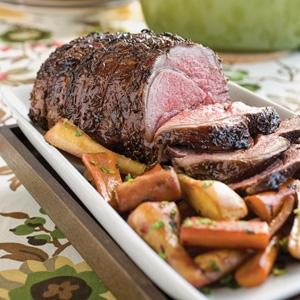 Pomegranate-Glazed Lamb with Carrots and Parsnips