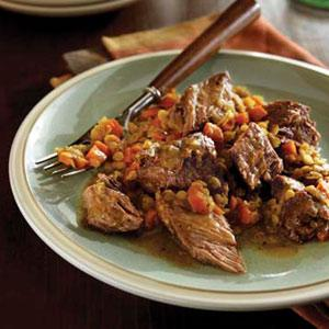 Braised Chuck Steaks with Savory Lentils