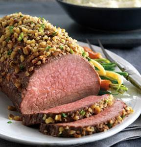 Walnut-Crusted Roast with Blue Cheese Mashed Potatoes
