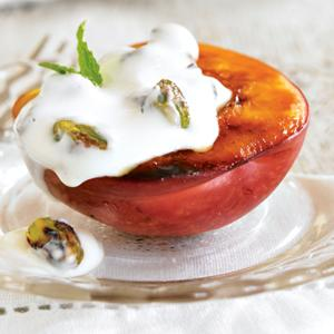 Grilled Nectarines with Honeyed Yogurt-Pistachio Filling