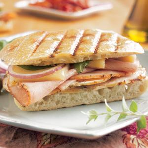 Oven Roasted Herb Turkey and Honey Ham Panini