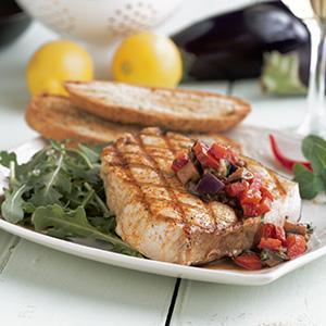 Mediterranean Swordfish with Basil Caponata