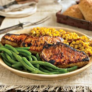 Smoky Pork Chops with Corn Hash