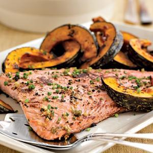 Japanese-Style Roasted Salmon w/ Kabocha Squash