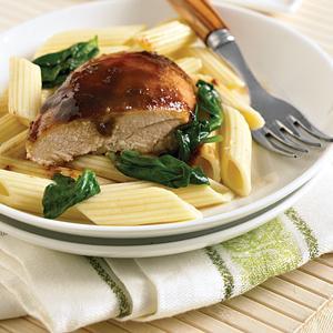 Maple Sesame Glazed Chicken over Penne