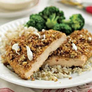 Maple-Pecan Encrusted Chicken