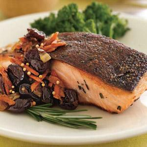 Salmon with Dried Cherry Ginger Chutney
