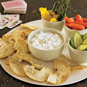 Homemade Bagel Chips and Veggies with Lighter Blue Cheese Dip