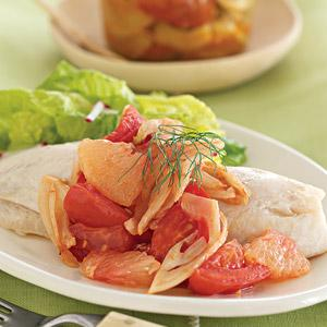 Grapefruit-Tomato Compote with Oven-Steamed Tilapia