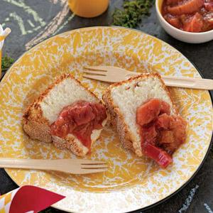 Lemon Angel Food Cake with Rhubarb Compote
