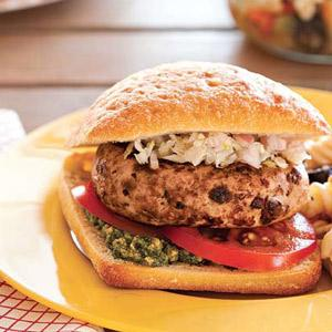 Sun-Dried Tomato Turkey Burgers with Fennel Relish