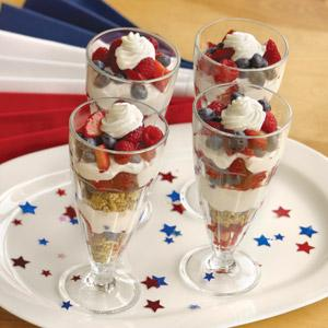 Red White and Blueberry Dessert Parfait
