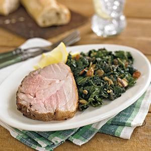 Pork with Kale and Golden Raisins and Almonds