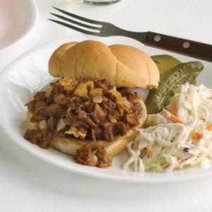 BBQ Pulled Pork Sandwiches with Coleslaw and Pickles