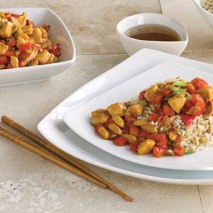 Peanut Chicken Stir-Fry and Brown Rice