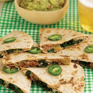 Pepper Jack Kale Quesadillas