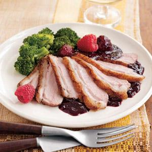 Pan-Seared Duck with Raspberry Sauce