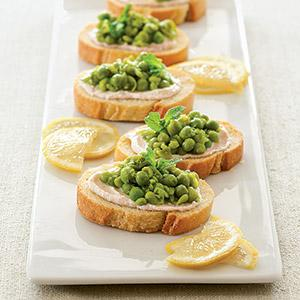 Smashed Pea, Ricotta, and Lemon Crostini