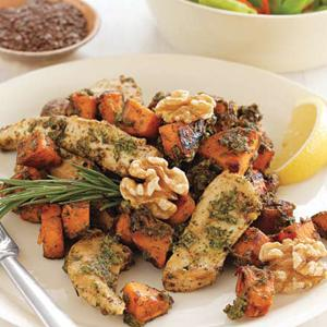 Chicken-Sweet Potato Saute with Flaxseed Pesto