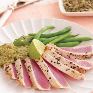 Seared Tuna with Pumpkin Seed Sauce