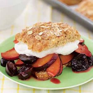 Oatmeal Spice Short Cakes with Cherries and Plums