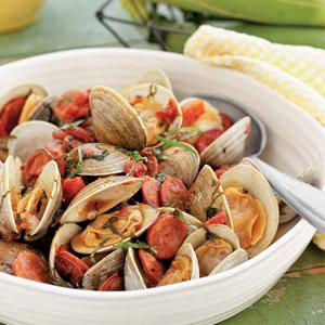 Clam, Chorizo, and Tomato Bundles