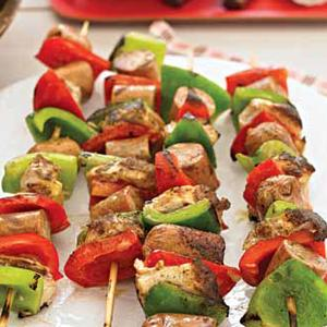 Chicken, Sausage, and Pepper Kabobs