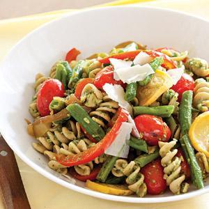 Arugula Pesto Pasta Primavera Salad