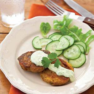 Turnip-Sweet Potato Patties with Curried Yogurt Sauce