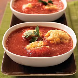 Chipotle-Tomato Soup with Cornmeal Dumplings