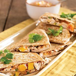 Chicken Quesadillas with Mango and Goat Cheese