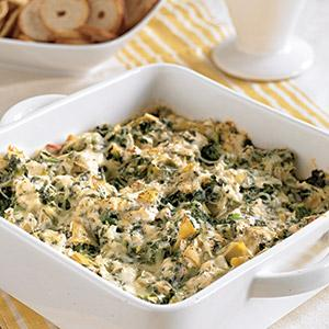 Hot and Healthy Artichoke Spinach Dip