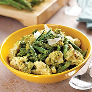 Roasted Asparagus and Cauliflower with Herbed Pea Sauce